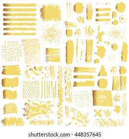 Vector set of gold brush strokes. Editable isolated elements. Grunge shiny brushes, banners for your design. Freehand. Watercolor splash. Acrylic stamp.