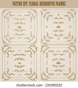 Vector set of gold decorative horizontal floral elements, corners, borders, frame, dividers, crown. Page decoration.