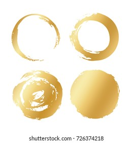 Vector set of gold different round brush strokes. Circle black frame painted. Abstract vector design element