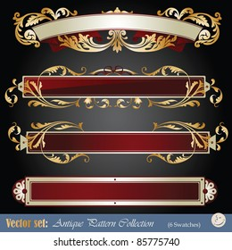 Vector set: gold ribbon elements on different topics for decoration and design