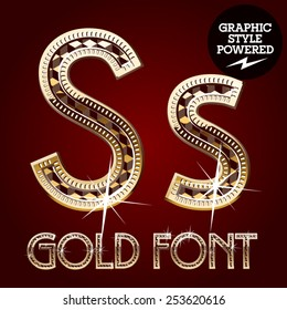 Vector set of gold rich alphabet with diamonds. Letter S
