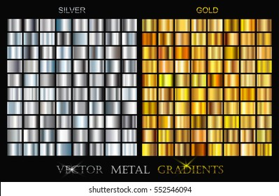 Vector set of gold and silver gradients.Golden and silver backgrounds.