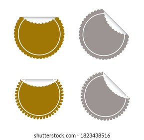 Vector Set of Gold and Silver Round Banner or Label with Copy Space for Add Content and Text.