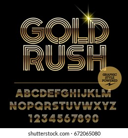 Vector set of golden alphabet letters. Font contains graphic style. Icon with text Gold Rush.