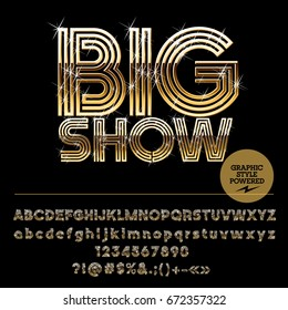 Vector set of golden Alphabet letters. Font contains graphic style. Icon with text Big Show