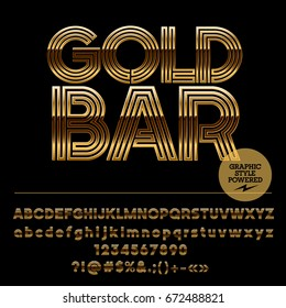 Vector set of golden Alphabet letters. Font contains graphic style. Icon with text Gold Bar.