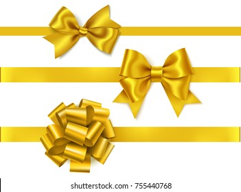 Vector set of golden bows isolated on white. Yellow bow with horizontal ribbon. Vector New year decorations