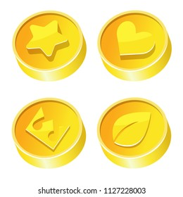Vector set of golden coins with symbols - star, heart, crown and leaf. Stylized cartoon coins are perfect for game development, banners or other design works. Elements isolated on white background.