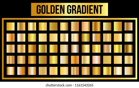 Vector set of golden gradients. Vector Illustration. eps 10