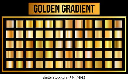 Vector set of golden gradients. Vector Illustration