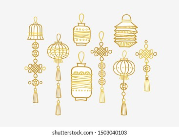 Vector set with golden hand draw lanterns in Chinese style. Gold isolated  icons for design elements. Traditional Chinese paper lanterns, lamps with  lucky coins and lucky knots.