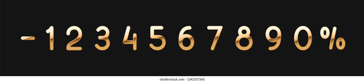 Vector Set of golden numbers 0, 1, 2, 3, 4, 5, 6, 7, 8, 9, isolated on black background
