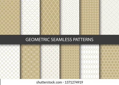 Vector set of golden ornamental seamless patterns. Collection of geometric luxury modern patterns. Patterns added to the swatch panel.