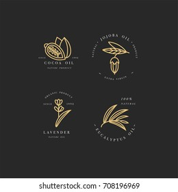 Vector set of golden packaging design templates and emblems - beauty and cosmetics oils - cocoa, lavender, jojoba and eucalyptus. Logos in trendy linear style