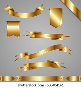 Vector set of golden ribbons and banners of different web forms.