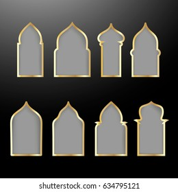 Vector set with golden shapes of windows and gates. Vector set of arabic doors silhouette for Ramadan kareem cards and invitations. Vector symbol traditional islamic arches.