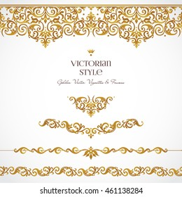 Vector set of golden vignettes and borders for design template. Elements in Victorian style. Luxury floral frames. Ornate decor for invitations, greeting cards, certificate, thank you message.