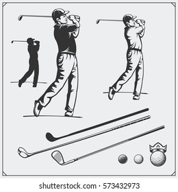 Vector set of golf players and golf elements.