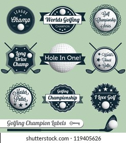 Vector Set: Golfing Champion Labels and Icons