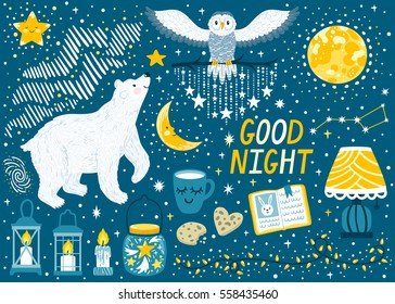 "Vector set ""Good night"" with polar bear, snowy owl, moon, stars, lanterns. Beautiful childish background with cute night elements and characters. Sweet dreams. Collection of scrapbook stickers."