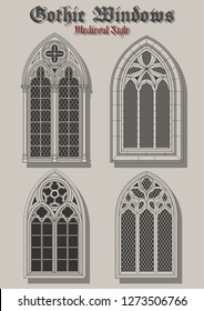 Vector Set of Gothic Windows Medieval Roman Style