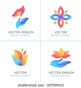 Vector set of gradient logo design elements and emblems on white background - hands, flowers and leaves concepts - badges for charity and care organizations