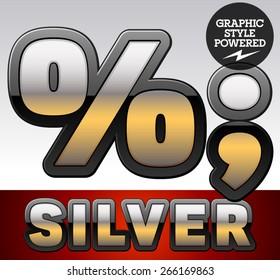 Vector set of gradient silver font with black border. Symbols