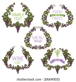 Vector set of grapes vintage wreathes. Decorative elements with text isolated on white background. Retro design. Menu or wine list templates.