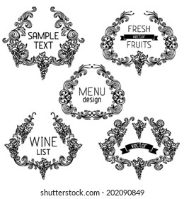 Vector set of grapes vintage wreathes. Five design elements with text isolated on white background. Retro design. Menu or wine list templates.