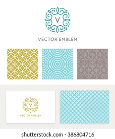 Vector set of graphic design elements, logo design templates and seamless patterns in trendy linear and minimal style - business card templates for beauty and spa studios, florist and wedding services