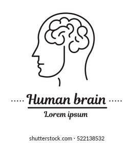 Vector set graphic logo, icon. Human brain. Brain activity. Head. Clinic logo, psychology disease.