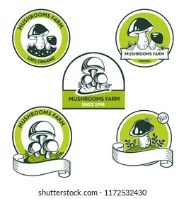 Vector Set of Graphic Logo for mushroom farms, companys. Heap greenhouse cultivation fresh mushrooms, farm emblem organic edible fungi with text inscription. Great for Market, packaging, menu, recipe