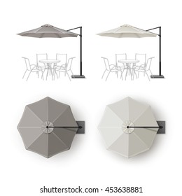 Vector Set of Gray Blank Patio Outdoor Beach Cafe Bar Pub Lounge Restaurant Round Umbrella Parasol for Branding Top Side View Mock Up Close Isolated on White Background