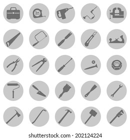 Vector Set of  Gray Circle Work Tools Icons