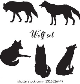 Vector set of gray or polar wolf silhouette. Walking, standing, sitting, howling and lying wolf. Isolated collection.