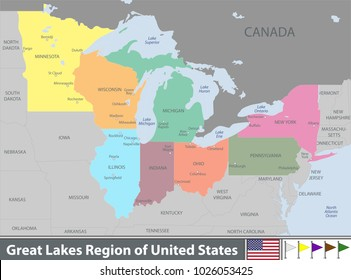 Imágenes, fotos de stock y vectores sobre Map of Great Lakes ...