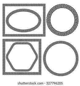 Vector Set of Greek Ornamental Frames Isolated on White Background