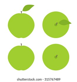 Vector set of green apples with brown springs and green leaves isolated on white background. Side view and top view. Logo template, design element, vegetarian menu decoration. Flat style. Flat lay