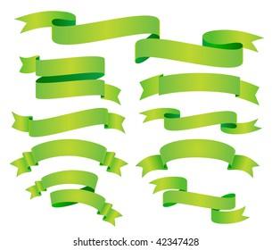 vector set of green banner or ribbon
