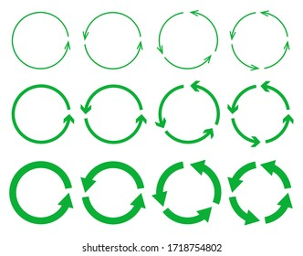 Vector set of green circle arrows isolated on white background. Recycling icon collection. Rotate arrow and spinning loading symbol. Circular rotation loading elements, redo process.