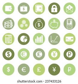 Vector Set of Green Circle Finance Icons