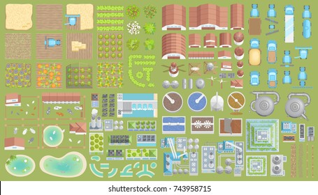 Vector set. Green city. Top view. Ecological technologies. Buildings, equipment, fields. View from above.