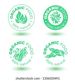 Vector set of  green design elements for organic natural logos. Organic logotype. Organic food sign for package design