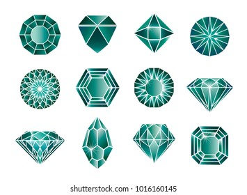 Vector set of green diamond (emerald) design elements - cutting samples. Gemstone. Fashion jewelry.