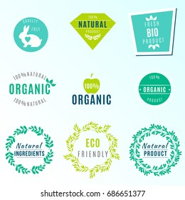 Vector Set of green labels and badges with leaves for organic, natural, bio and eco friendly products, isolated on light background. Cruelty free, not tested on animals