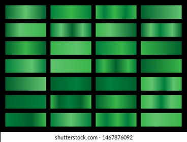 Vector set of green metallic gradients, swatches collection, shiny gradient set on black background, metal texture