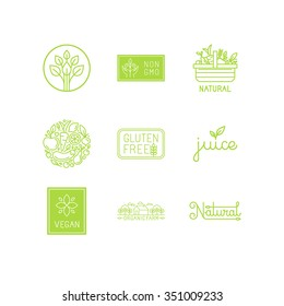 Vector set of green and organic products labels and badges - collection of different icons and illustrations related to fresh and healthy food - part 1