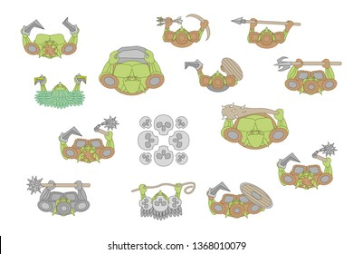 Vector set. Green-skinned monsters. Top view. Goblins, orcs, trolls with weapons. View from above.