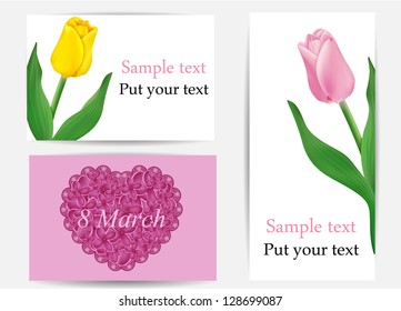 vector set of greeting cards with flowers , may be used as a Women's Day card