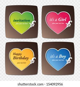 vector set : greeting cards with heart shape